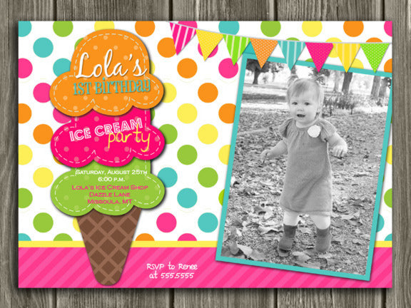 Ice Cream Birthday Invitation 4 - Thank You Card Included