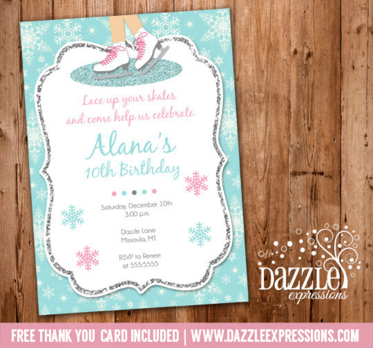 Glitter Ice Skating Birthday Invitation - FREE thank you card included