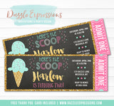 Ice Cream Chalkboard Ticket Invitation 3 - FREE thank you card included