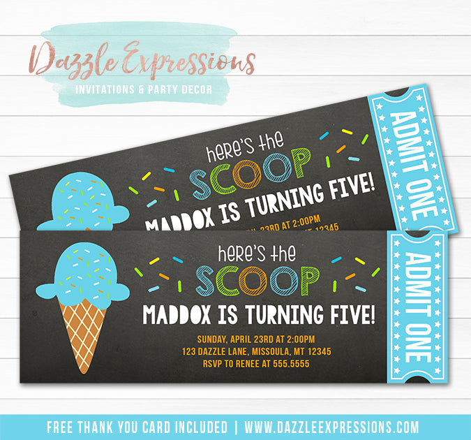 Ice Cream Chalkboard Ticket Invitation 4 - FREE thank you card included