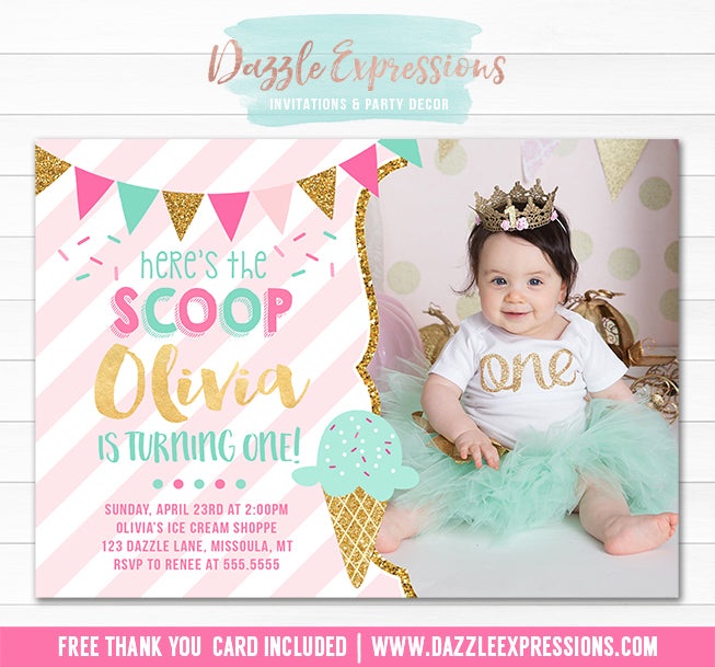 Ice Cream Birthday Invitation 5 - FREE thank you card