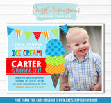 Ice Cream Birthday Invitation 7 - FREE thank you card