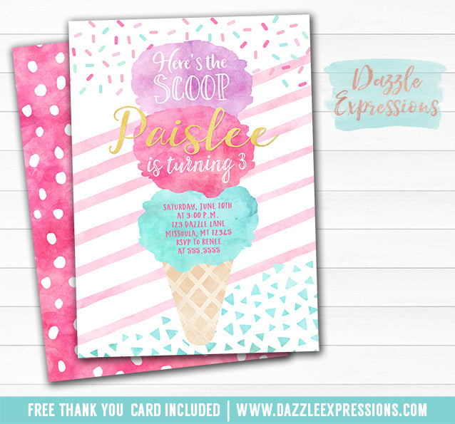 Ice Cream Watercolor Invitation - FREE thank you card and back side