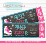 Ice Skating Ticket Invitation 2 - FREE thank you card included