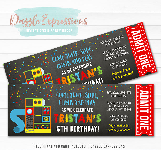 Indoor Playground Chalkboard Ticket Invitation 1 - FREE thank you card