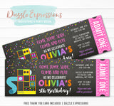 Indoor Playground Chalkboard Ticket Invitation 2 - FREE thank you card