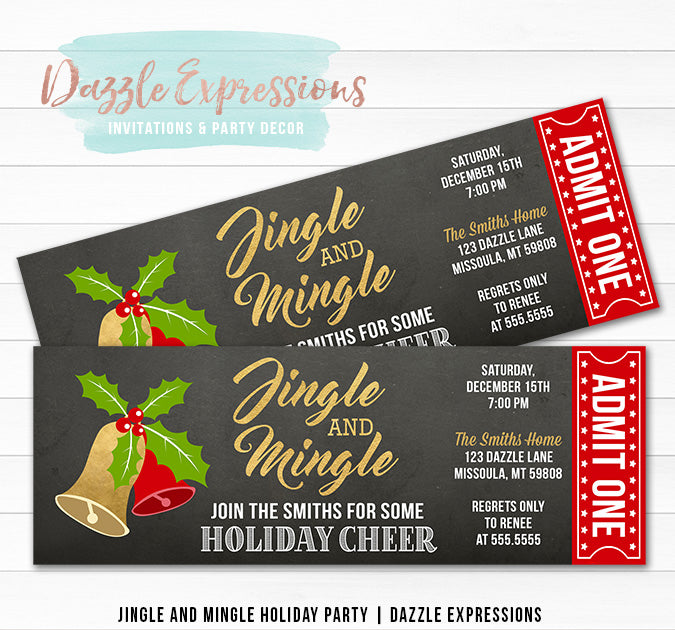 Jingle and Mingle Holiday Party Ticket Invitation