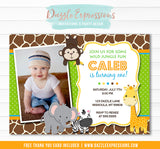 Jungle Birthday Invitation - Thank You Card Included