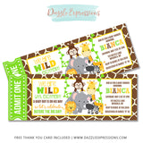 Jungle Ticket Baby Shower Invitation - FREE thank you card