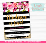 Floral with Black and White Stripes Invitation 2 - FREE thank you card