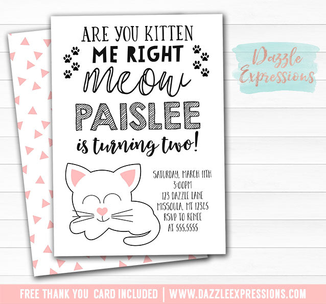 Kitten Invitation 1 - FREE thank you card