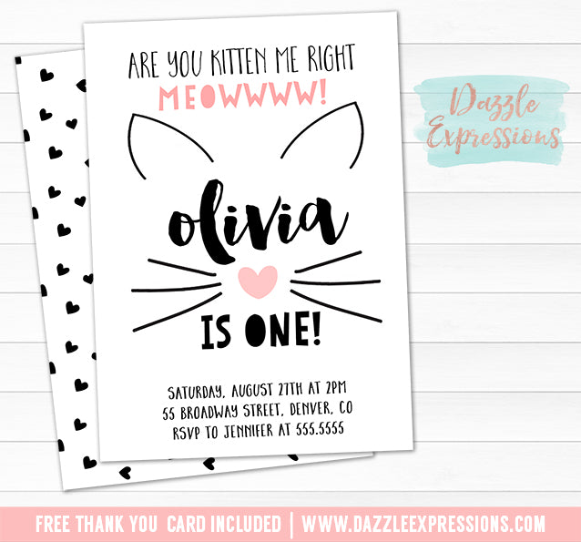 Kitten Invitation 3 - Thank You Card Included