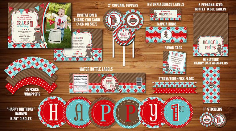 Sock Monkey Complete Party Package
