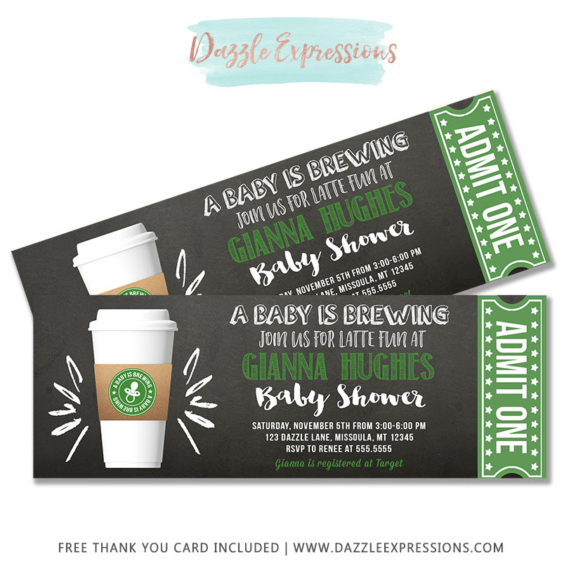 Latte Chalkboard Ticket Baby Shower Invitation - FREE thank you card included