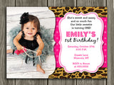 Leopard Birthday Invitation - Thank You Card Included