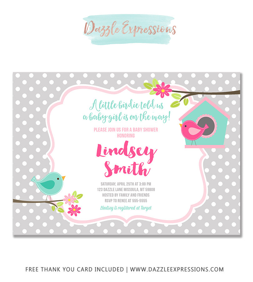 Little Birdie Baby Shower Invitation - FREE thank you card included
