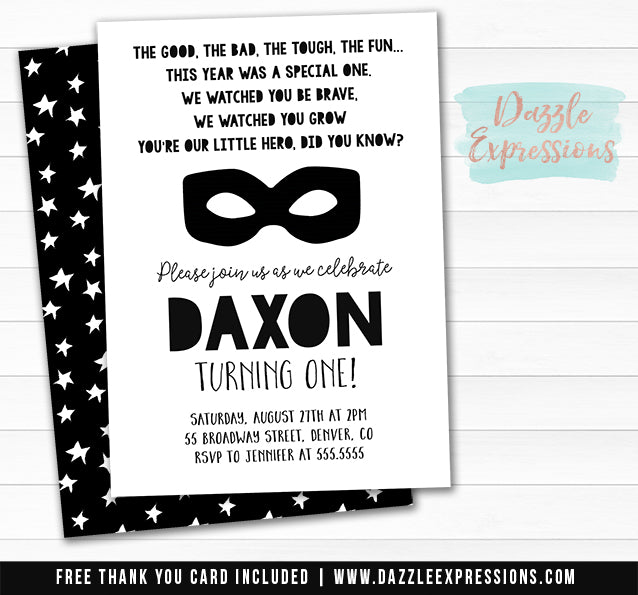 Little Hero Invitation 1 - FREE thank you card included