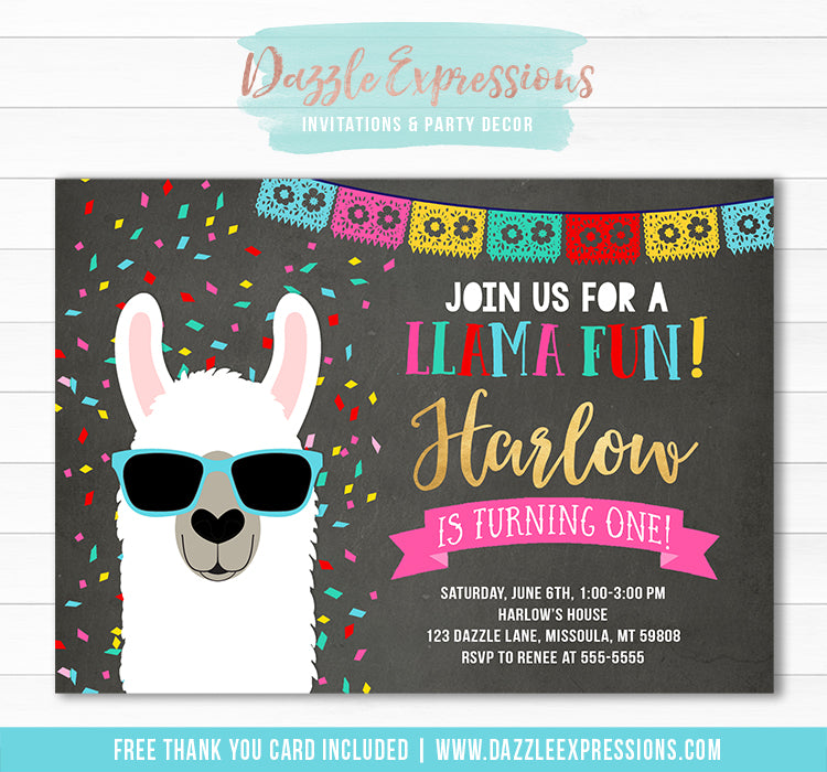 Llama Chalkboard Invitation 1 - FREE thank you card