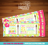 Luau Ticket birthday Invitation - FREE thank you card included