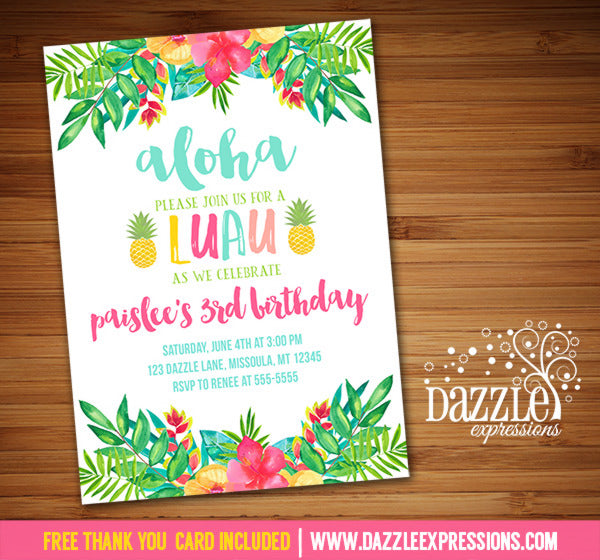 Tropical Flower Luau Invitation - FREE thank you card included