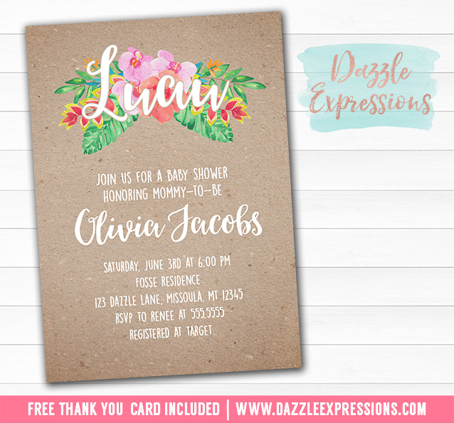 Luau Baby Shower Invitation - FREE thank you card