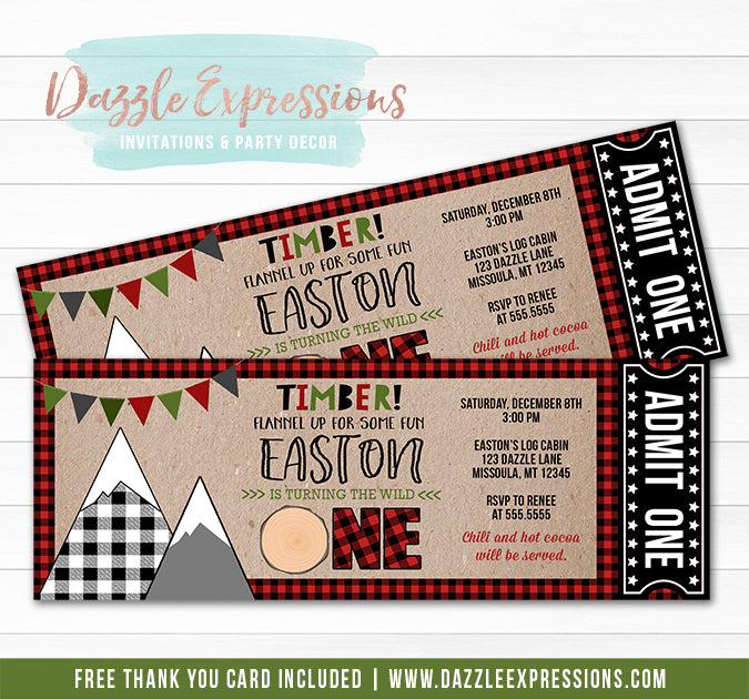 Lumberjack Ticket Invitation 3 - FREE thank you card