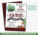 Lumberjack Watercolor Invitation - FREE thank you card included