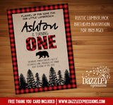 Plaid Birthday Invitation 1 - FREE thank you card included