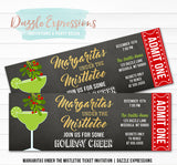 Margaritas and Mistletoe Holiday Party Ticket Invitation