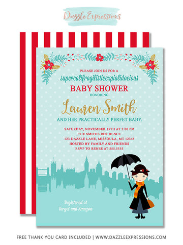 Mary Poppins Inspired Baby Shower Invitation - FREE thank you card