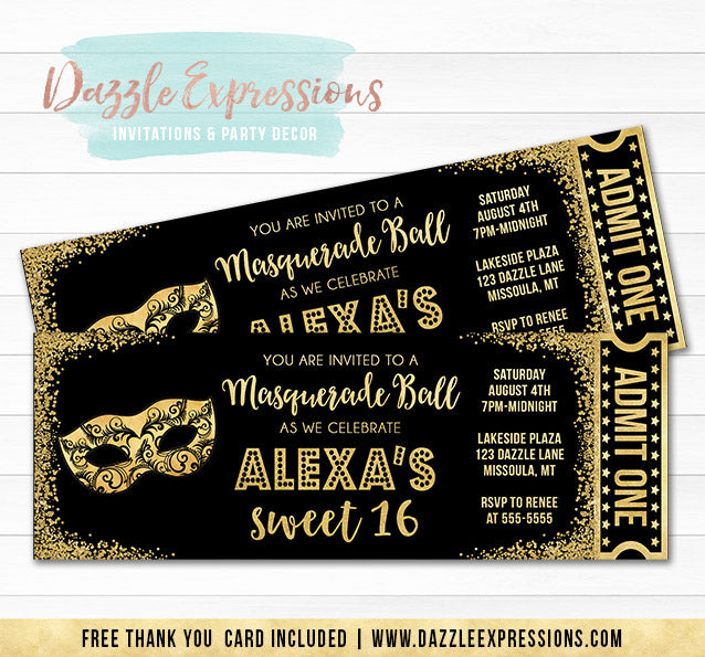 Masquerade Black and Gold Ticket Invitation - FREE thank you card
