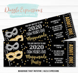 Masquerade New Years Eve Ticket Invitation 1