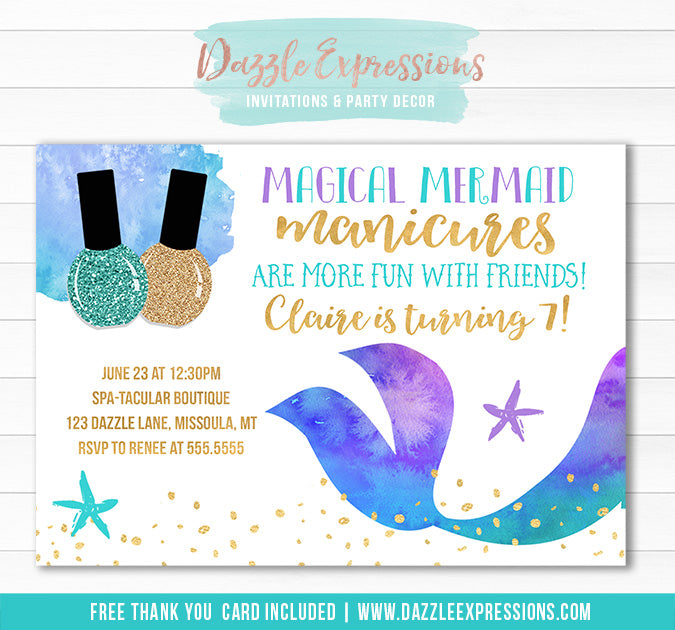 Mermaid Manicures Birthday Invitation - FREE thank you card
