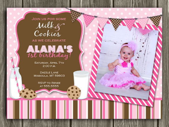 Milk and Cookies Birthday Invitation - Pink - Thank You Card Included