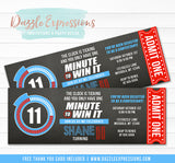 Minute to Win It Inspired Ticket Birthday Invitation - FREE thank you card