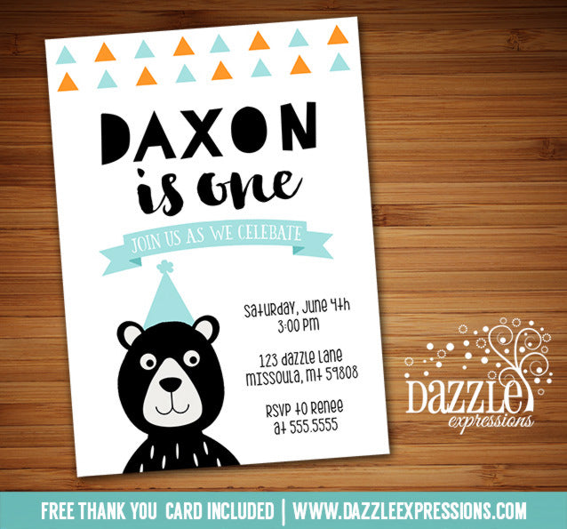 Bear Birthday Invitation 1 - FREE thank you card included
