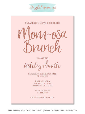 Rose Gold Momosa Brunch Baby Shower Invitation - FREE thank you card