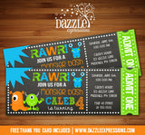 Monster Chalkboard Ticket Invitation - FREE thank you card included
