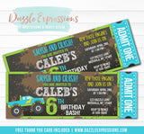 Monster Truck Chalkboard Ticket Invitation - FREE thank you card included