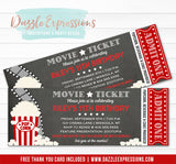Movie Ticket Chalkboard Invitation - FREE thank you card included