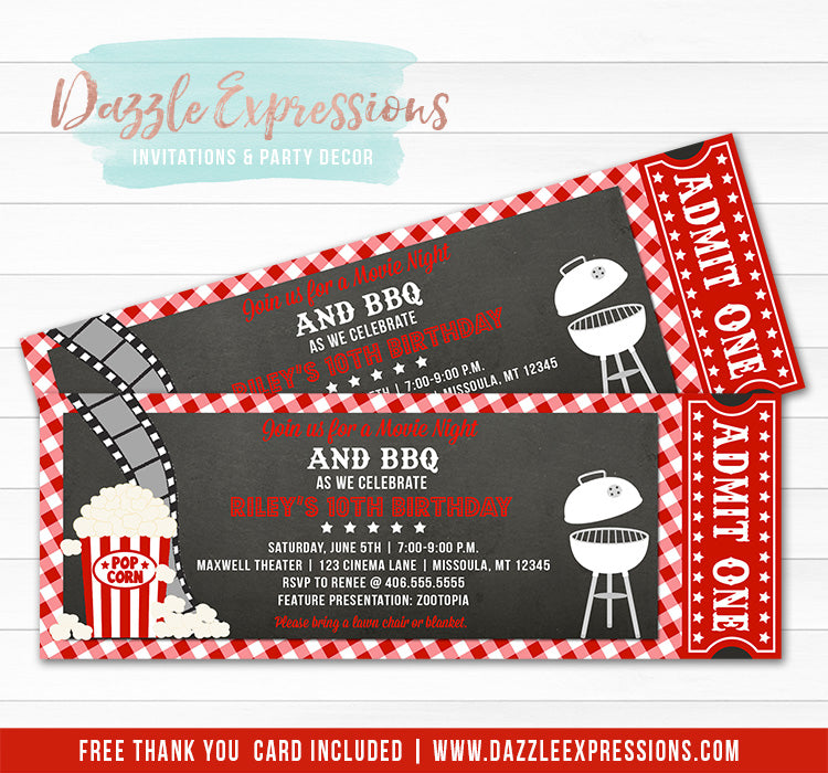 Movie and BBQ Ticket Invitation - FREE thank you card