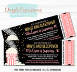 Movie and Sleepover Ticket Invitation 1 - FREE thank you card