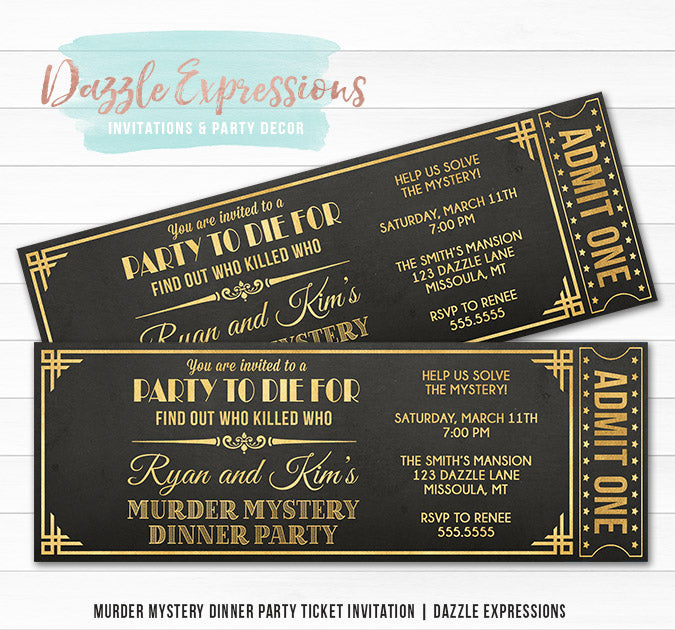 Murder Mystery Dinner Party Ticket Invitation