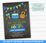 Musical Instrument Chalkboard Invitation - FREE thank you card included