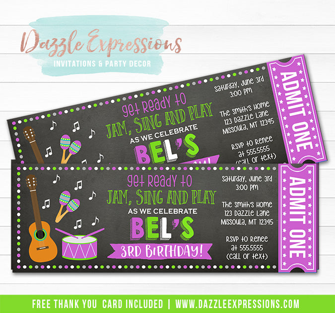 Musical Instrument Chalkboard Ticket Invitation 2 - FREE thank you card included