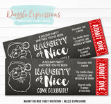 Naughty or Nice Holiday Party Ticket Invitation