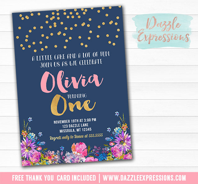Navy Blue and Floral Birthday Invitation - FREE thank you card