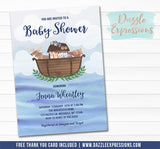 Noah's Ark Watercolor Baby Shower Invitation - FREE thank you card