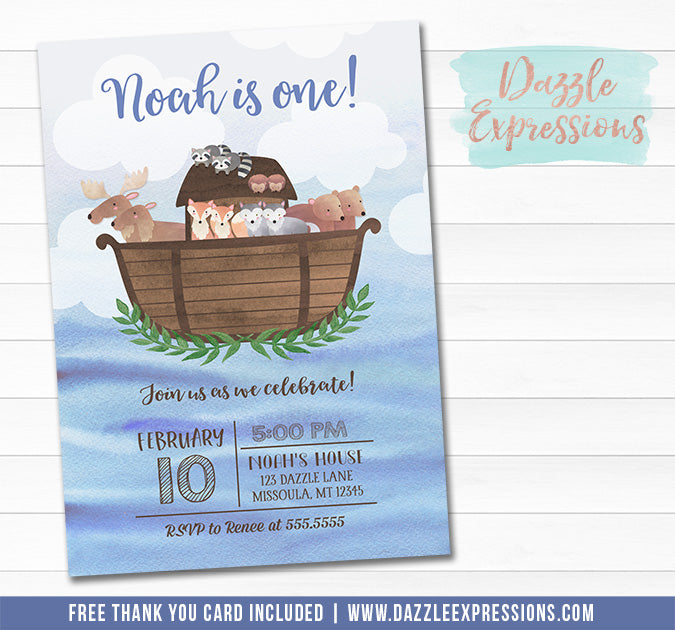 Noahs Ark Watercolor Invitation - FREE thank you card included