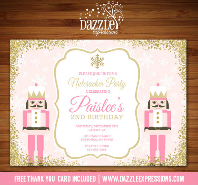 Pink and Gold Glitter Nutcracker Birthday Invitation - FREE thank you card included